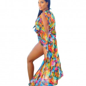 Colorful Full Sleeve Beach Cover Up Gathered Waist Belt