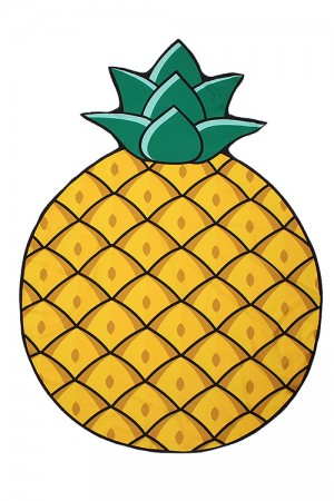 Yellow One Pineapple Beach Towel Mat Picnic Cover