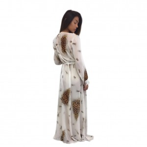 Suave Printed Deep V Neck Floor Length Beach Cover Up