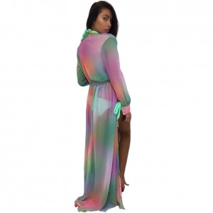 Tantalizing Slit Side Tie Waist Beach Dress Long Sleeves