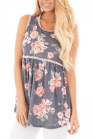 Pleasing Flower Print Lace Trim Tank Top No Sleeves