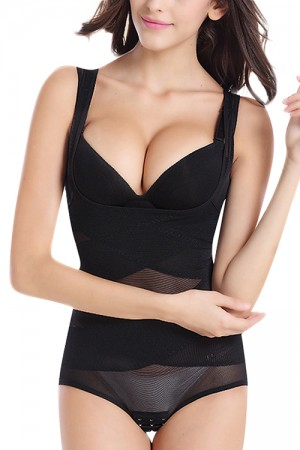 Sleek Black Big  Mesh Insert Shapewear Bodysuit Thick Straps