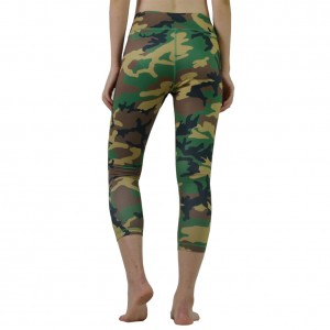 Green Camouflage Printed  Running Pants Mini Pockets
