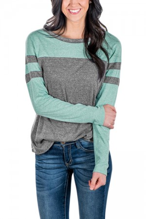 Grey And Green T-Shirt Cute Full Sleeves Stripe