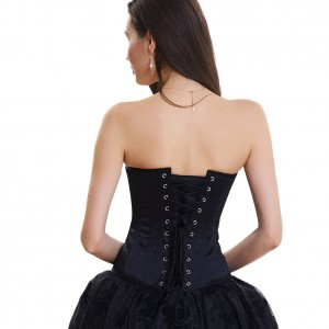 Black 10 Plastic Bonds Crisscross Lacing Back Corset