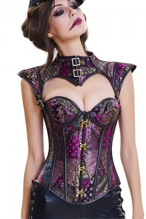 Purple Gold 16 Plastic Bones Buckled Straps Corset