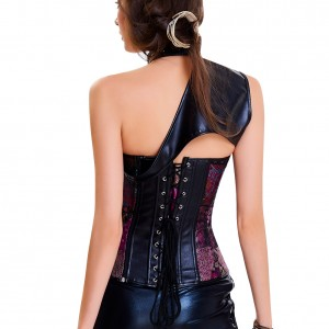 Purple Gold Buckled Decor 13 Plastic Bones Steampunk Corset