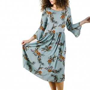 Chic Three Quarter Ruffled Waist Midi Dress Floral