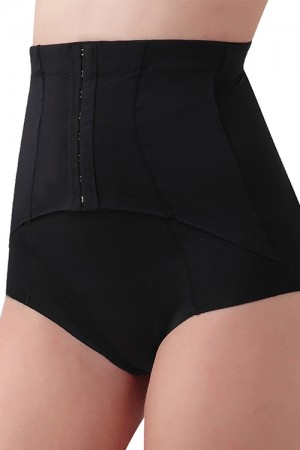 Breathable Black Hook Eye Slim Waist Brief Shapewear