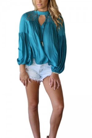 Unique Blue High Collar Cut Out Blouse Flutter Hemline