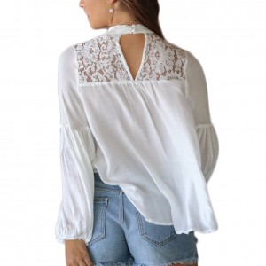 Faultless White Long Puff Sleeves Top Floral Lace