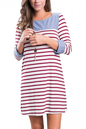 Cheap Red Mini Round Neckline Dress Long Sleeves