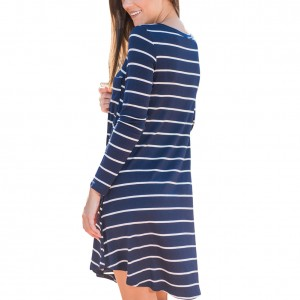 Leisure Blue Stripe Pattern Mini Length Dress
