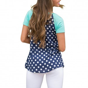Blue Short Sleeves Polka Dot Blouse Round Neckline