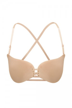 Form-Fitting Nude Lace-Up Front Wireless Invisible Bra