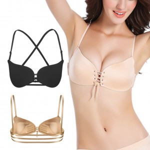 Chic Black Adjustable Straps Invisible Bra Cross Back