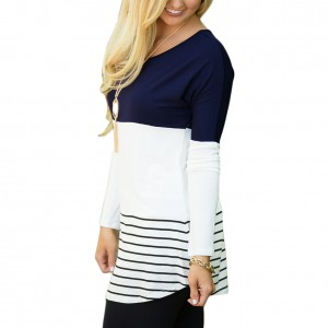 Casual Dark Blue Striped Color Block Blouse