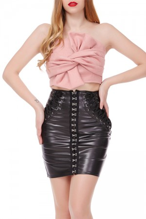 Utility Tight Pink Suede Crop Top Zip Back Closure
