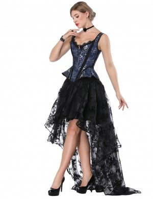 Haute Contour Tie Back Blue Wide Strap Corset Lace Asymmetric Skirt