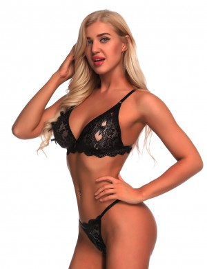 Luxurious Black Lace Wireless Bra Sets Adjustable Straps Midnight