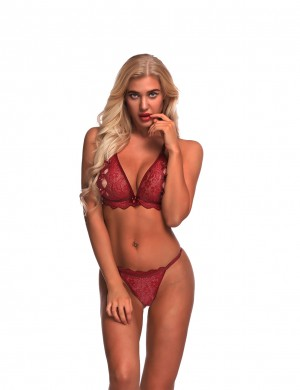 Evening Romance Wine Red G-String Triangle Cup See Through Bra Sets