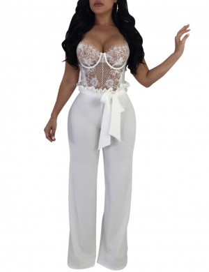 Back Zip White Wide Leg Pants Bowknot Self Tie For Hanging Out