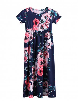 Navy Blue Floral Pattern Maxi Dress Elastic Waistband Fashion Insider