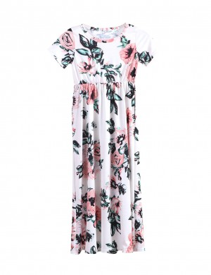 White Print Girls Vintage Maxi Dress With Pockets Super Faddish