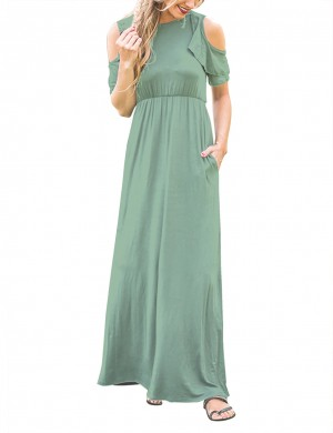 Cold Shoulder Light Green Flounce Maxi Dress Fashion Shop Online