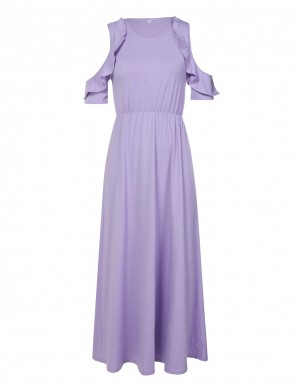 Round Neck Light Purple Maxi Dress Cold Shoulder Fashion Style