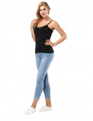 Bamboo Unvarnished Black Tank Tops Spaghetti Straps Fashion Style