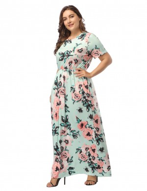 Summary Light Green Queen Size Floor Length Dress Floral Print Girls