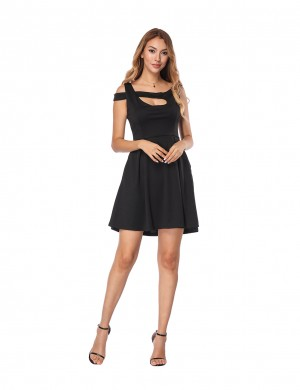Fabulously Black A-Line Mini Dress With Pockets All-Match Style