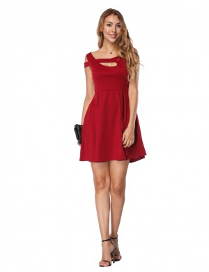 Slimming Wine Red Irregular Mini Dress A-Line Hem Form Fitting