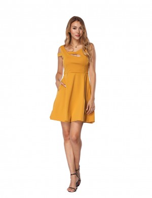 Trendy Yellow Hollow Out Skater Dress Sleeveless Home Dress