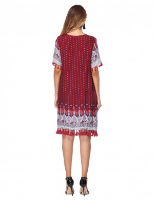 Wine Red Tassel Sleeves Short Dress Boho Print Casual Fashion