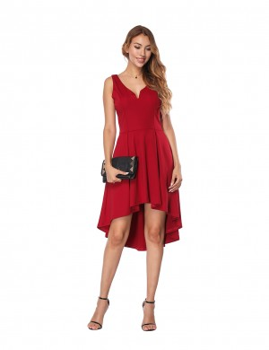 Marvellous Wine Red Irregular Hem Dress Short Length Comfort Fit