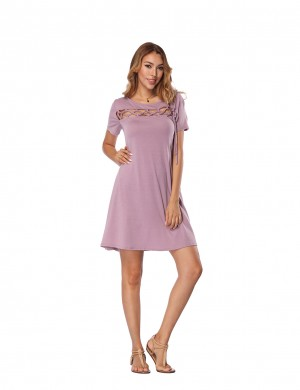 Smooth Purple Short  A-Line Dress With Pocket Women Outfits