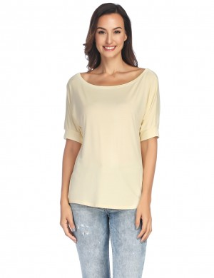 Stretchy Apricot Scoop Neckline Shirts Short Sleeves