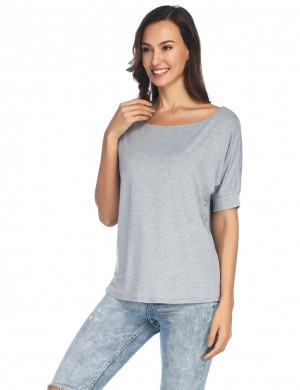 Grey Ruched Loose T-Shirt Bat Sleeves All-Match Style