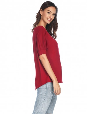 Wine Red Scoop Neck Shirt Adjustable Sleeves