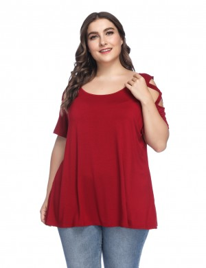 Slinky Wine Red Big Size Ruched T-Shirt Feminine Curve