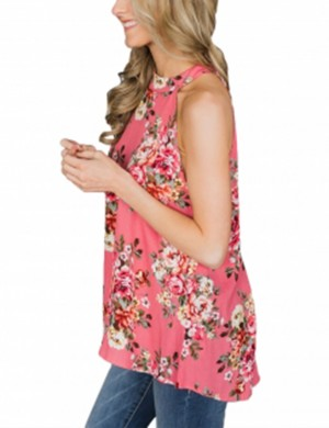 Red High Neck Tank Tops Floral Print For Every Occasion