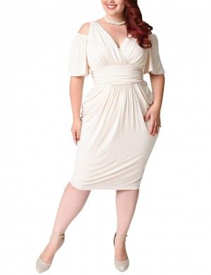 Uniquely White Midi Length Pleated Big Dress V Neck Hot Sale