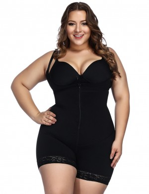 Black Underbust Bodysuits Boyshort Open Crotch Lace Slimming Belly