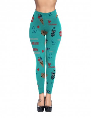 Summer Print Light Blue Brushed Leggings Long Length Sexy Women