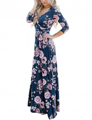 Sheerly Navy Blue Plunge Wrap Long Dresses Flower Print Woman