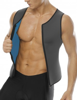 Grey Plus Neoprene Zipper Tank Shapewear Mens Comfort Revolution