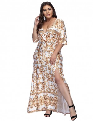 Causal White Wrap Ruched Plus Long Dress Split Visual Effect