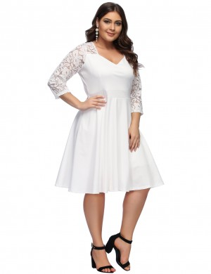 Summary White Back Zip Lace Large Midi Dress For Romans